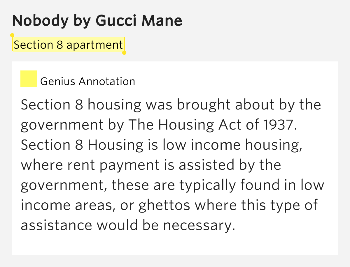Section 8 apartment - Nobody Lyrics Meaning