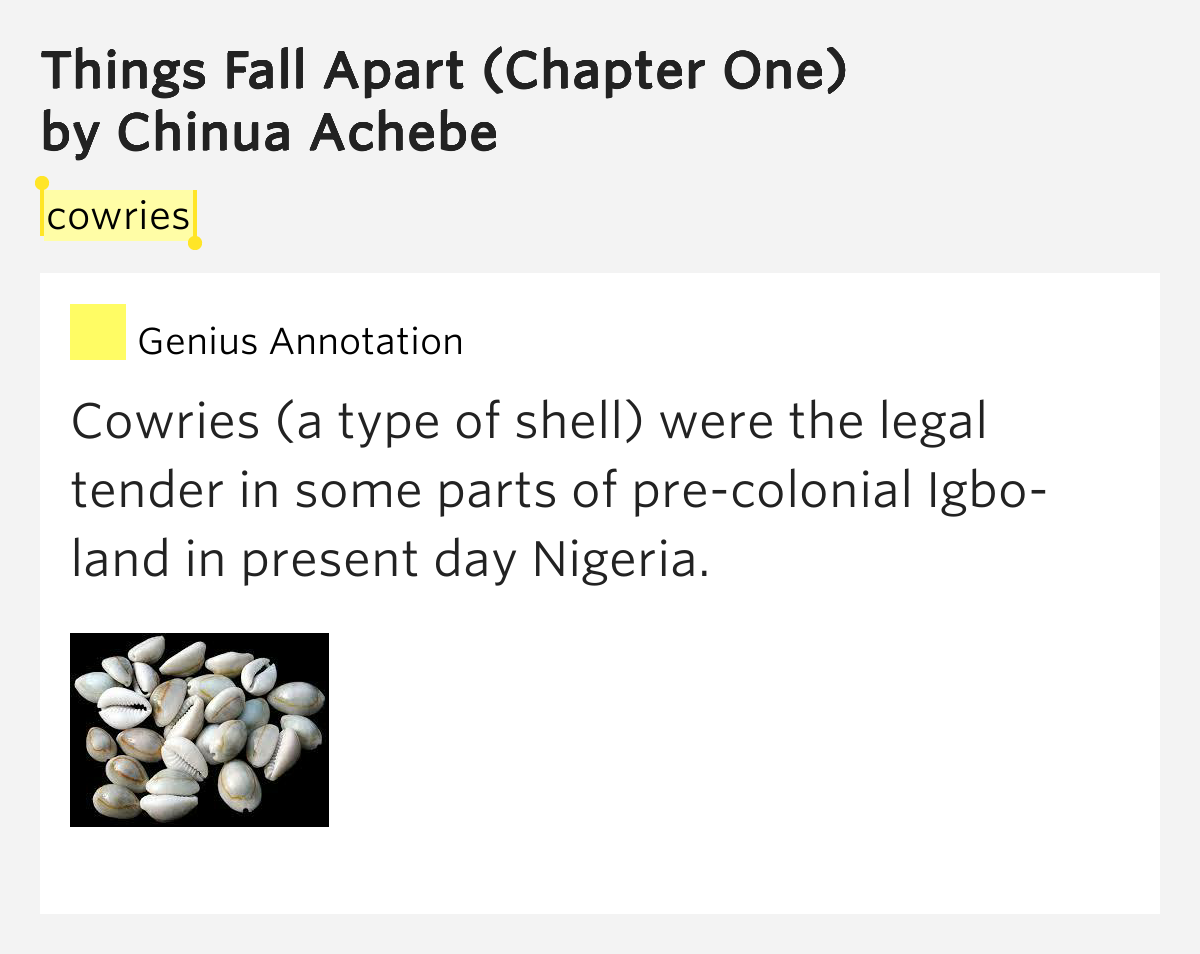 chinua achebe things fall apart chapter Start studying things fall apart chapter analysis learn vocabulary, terms, and more with flashcards things fall apart things fall apart by chinua achebe.