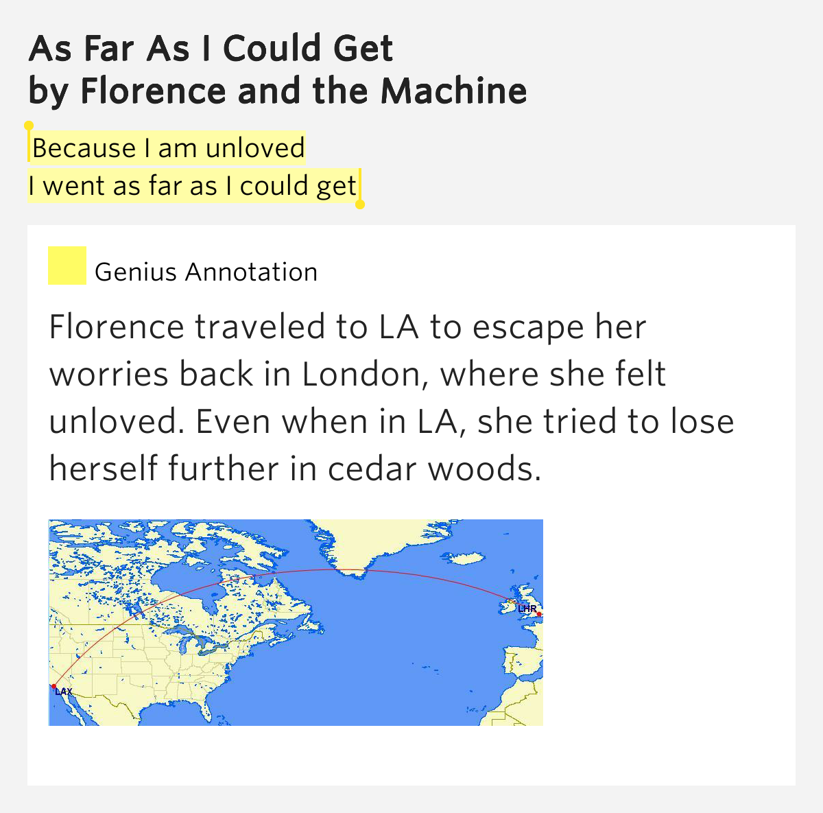 as far as i could get florence and the machine