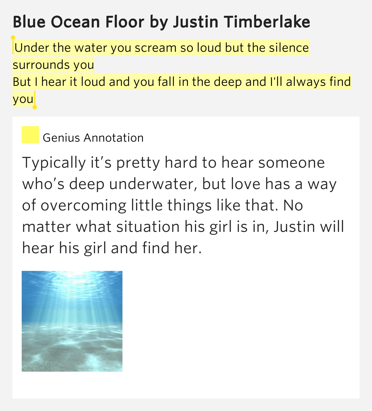 Blue Ocean Floor Lyrics Meaning Under The Water You Scream