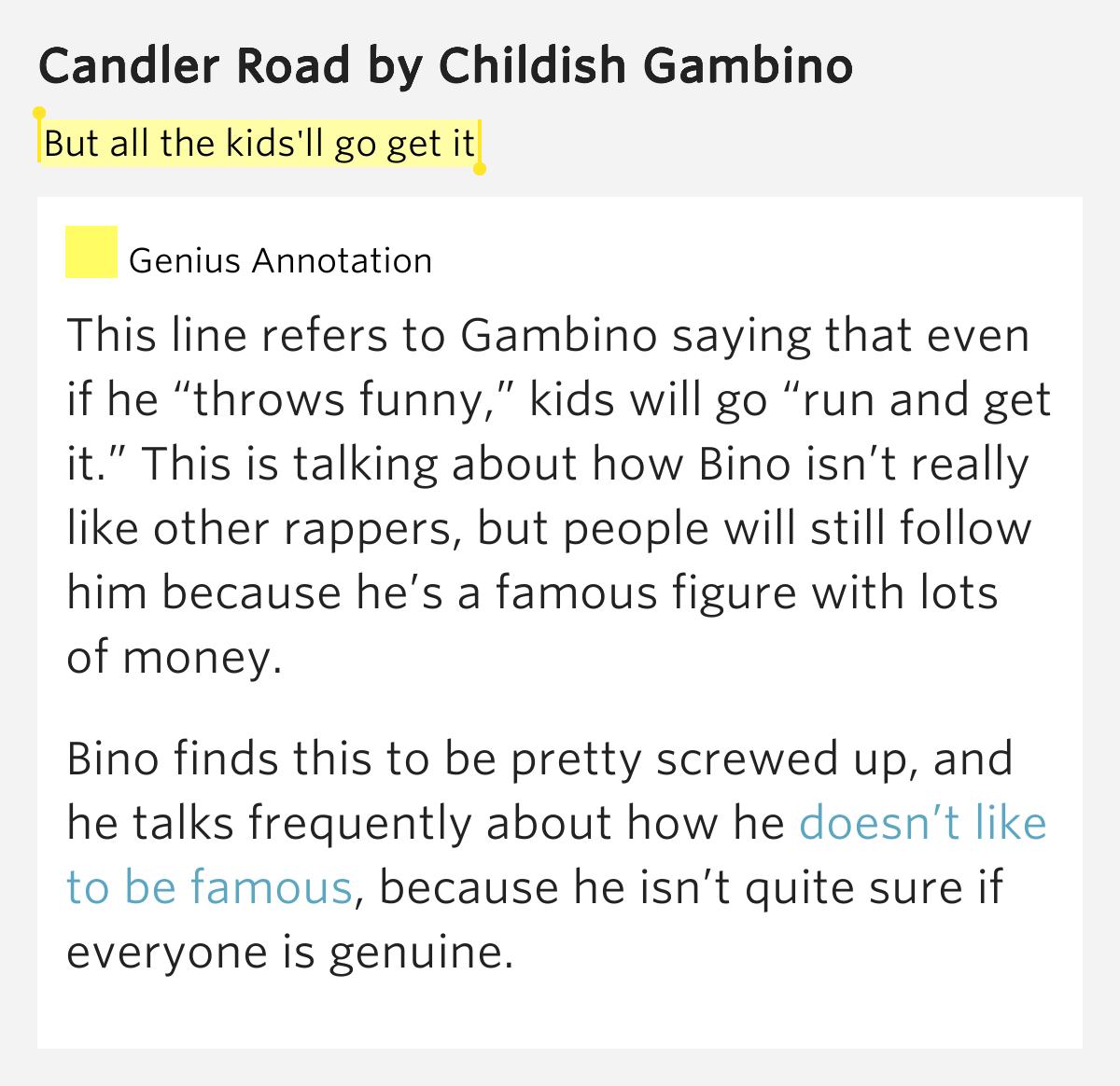 But all the kids'll go get it – Candler Road by Childish ...