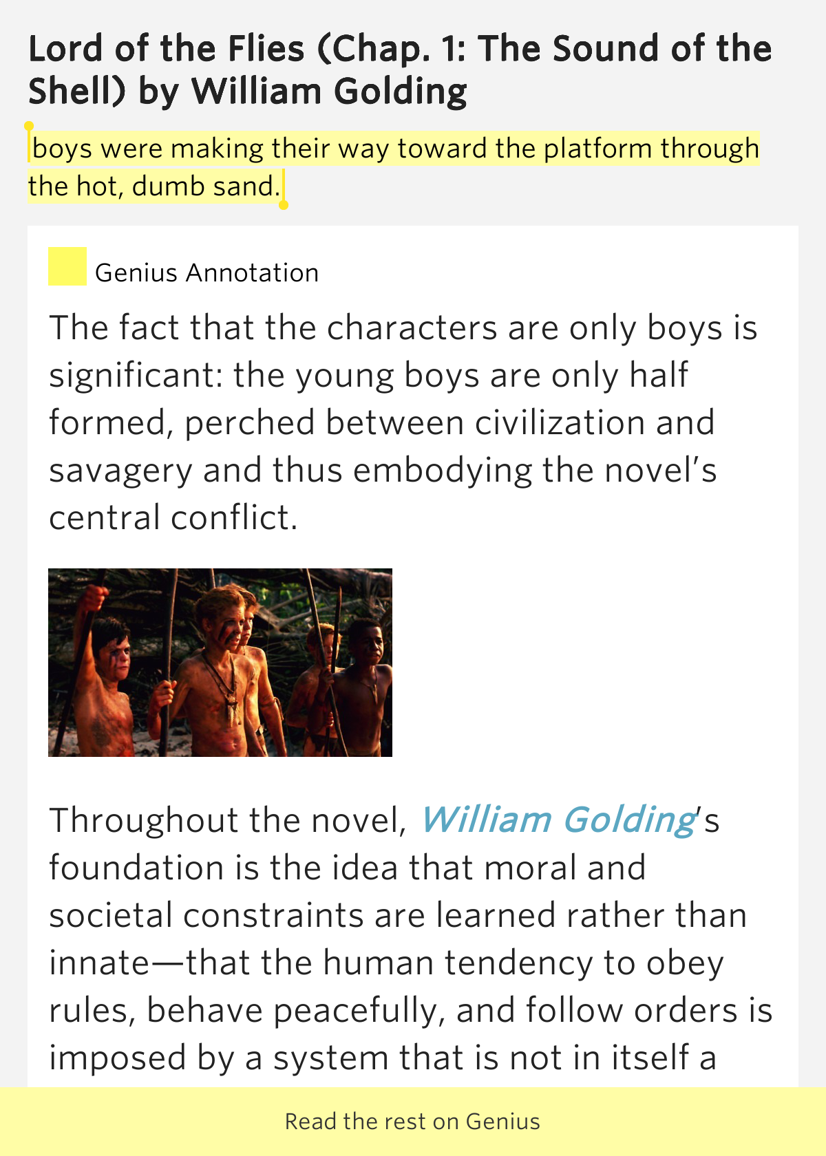 the premise of a civilization motive in the lord of the flies a novel by william golding In lord of the flies , william golding gives us a glimpse of the savagery that underlies william golding type of work: novel savagery versus civilization.