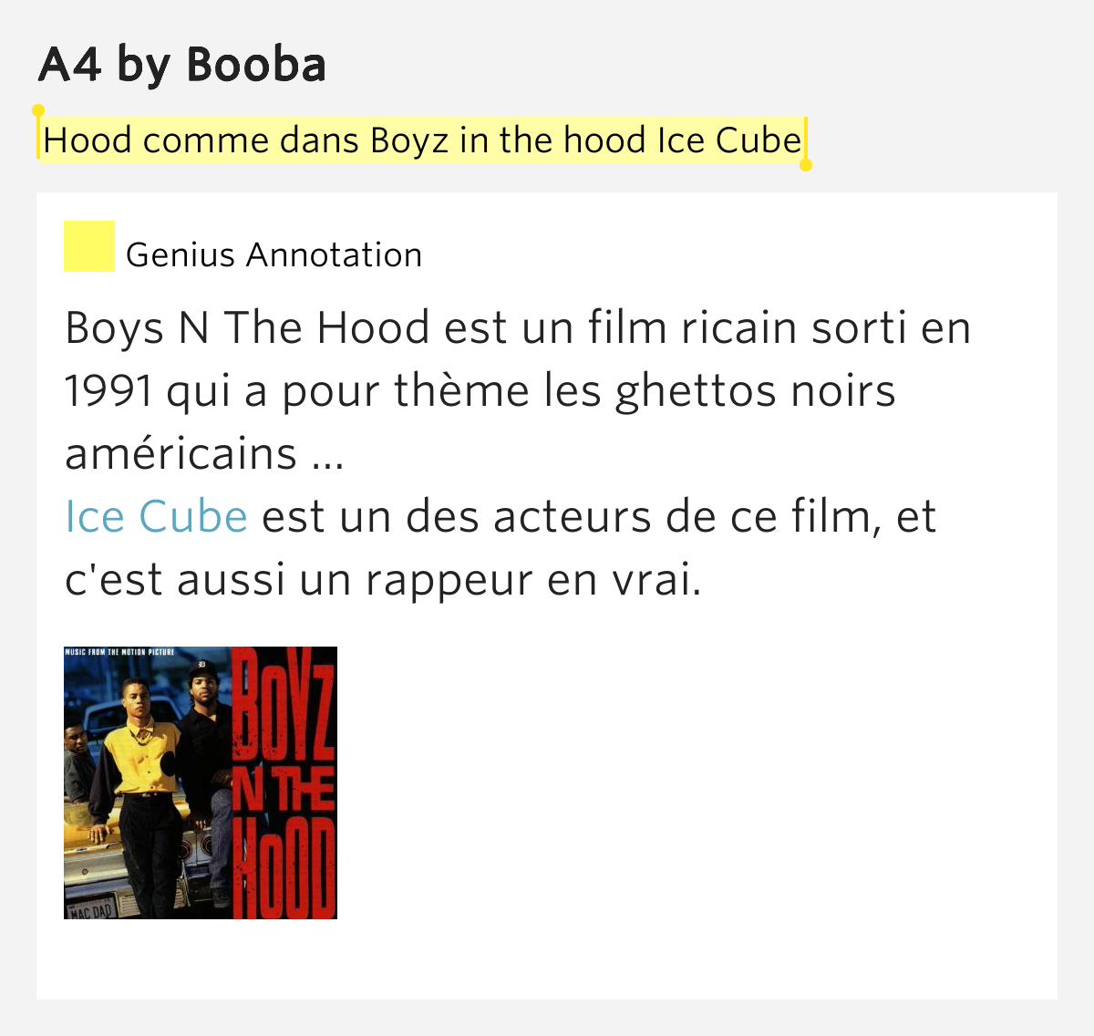 hood comme dans boyz in the hood ice cube a4 by booba. Black Bedroom Furniture Sets. Home Design Ideas