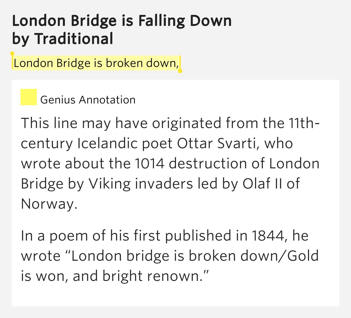London Bridge is broken down, – London Bridge is Falling Down