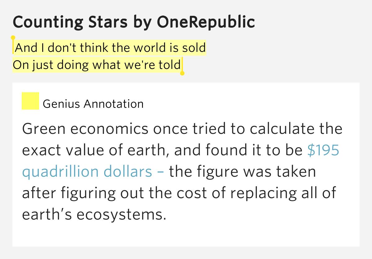 Onerepublic counting stars meaning