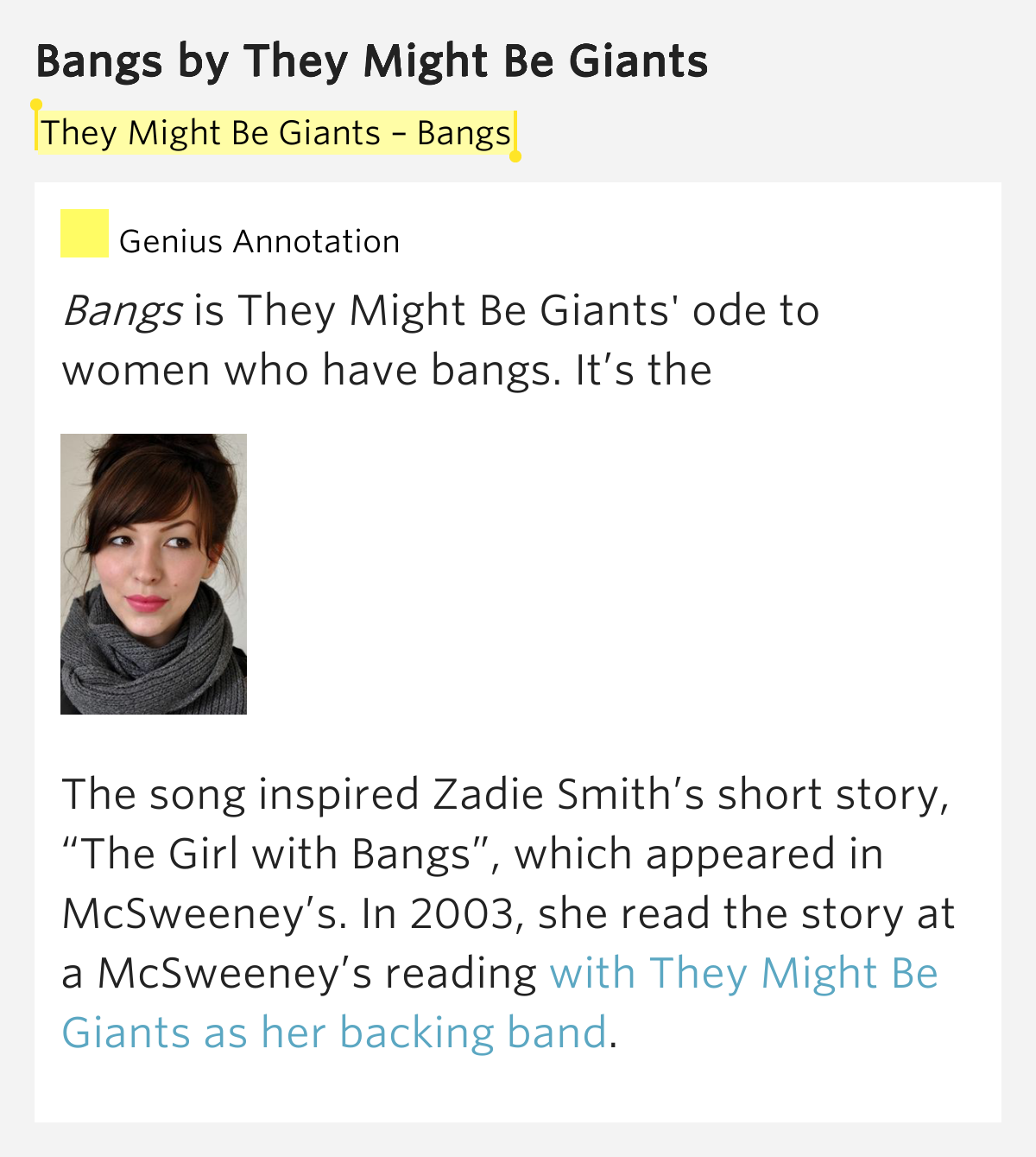 the girl with bangs zadie smith Author zadie smith admits that early literary success is not always a blessing she was 25 when she published her first novel, the widely praised white teeth since then, she has written two other.