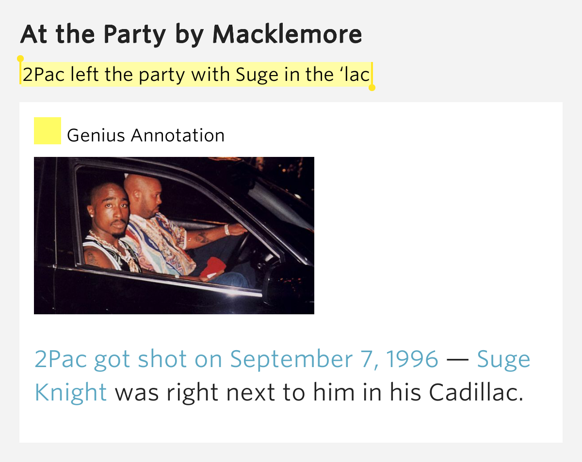 2pac left the party with suge in the lac at the party. Cars Review. Best American Auto & Cars Review