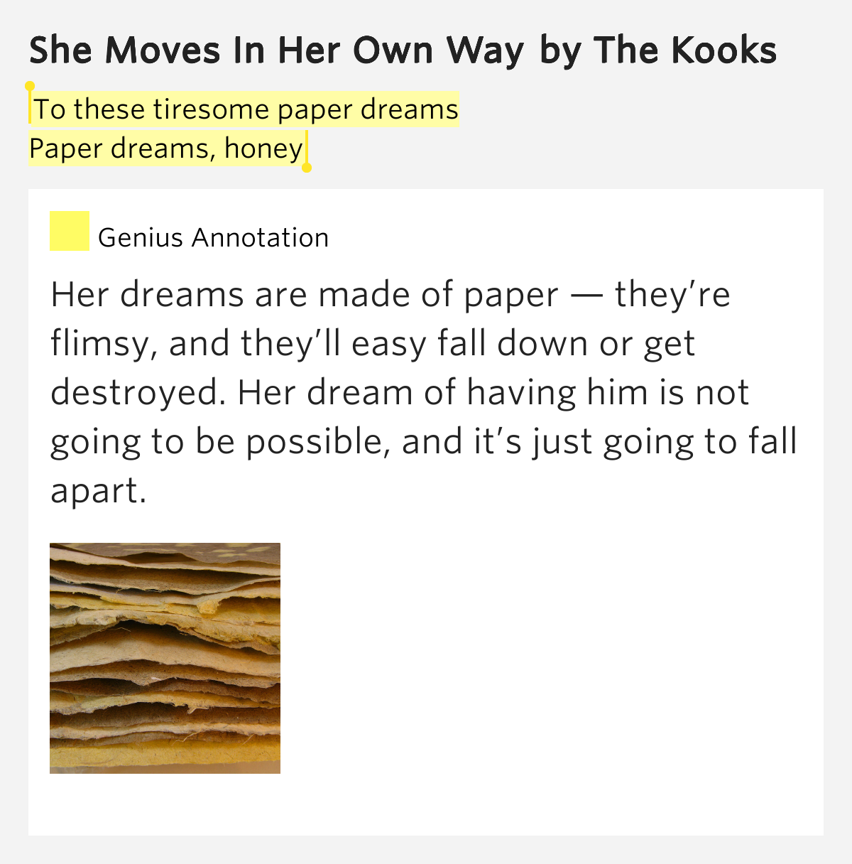 To These Tiresome Paper Dreams / Paper Dreams, Honey
