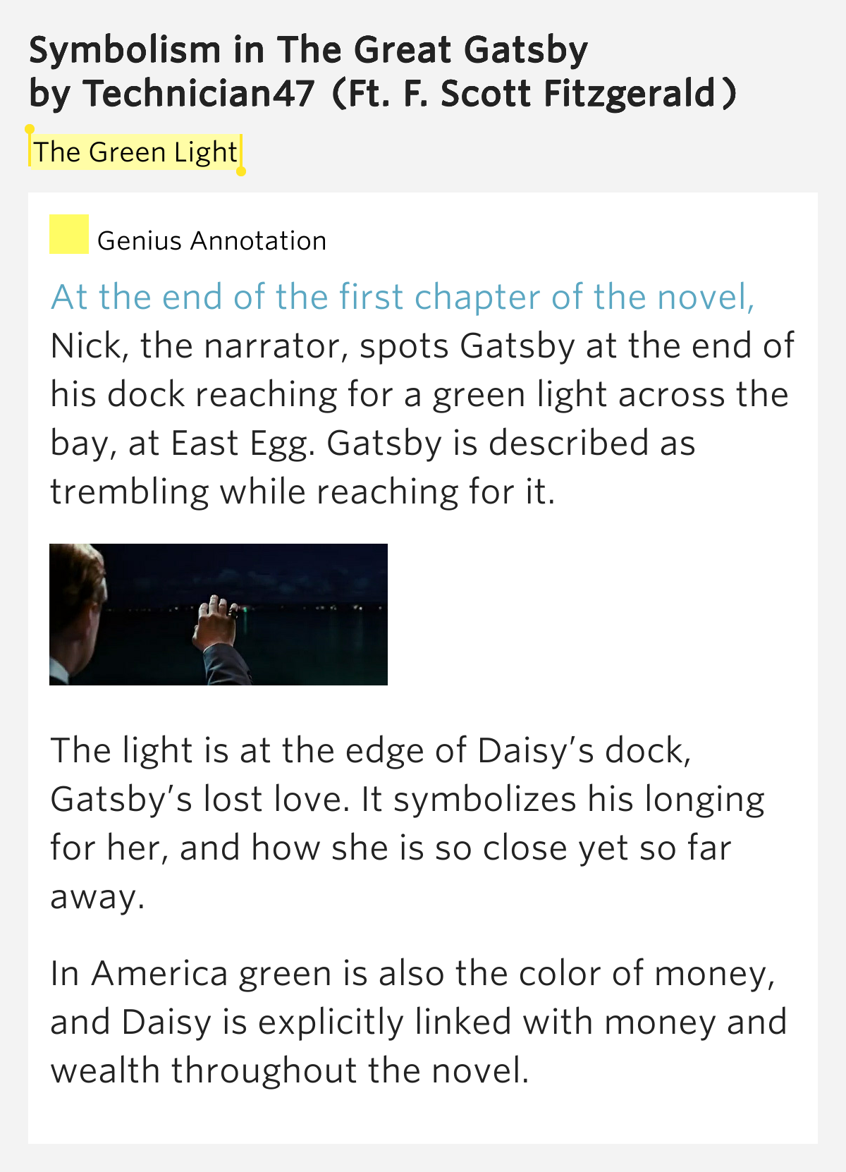 An analysis of the symbolism in the great gatsby a novel by f scott fitzgerald