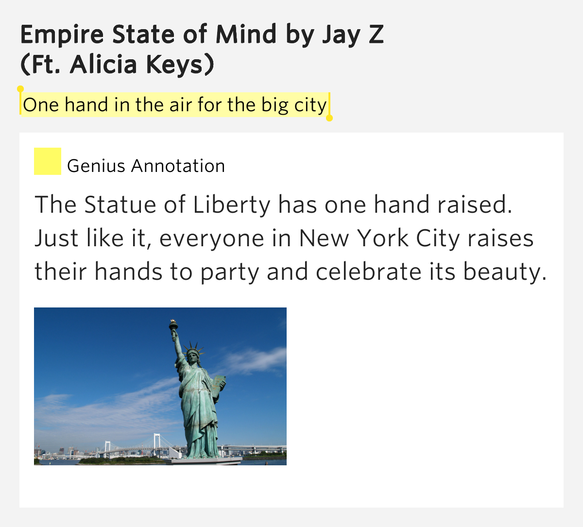 Empire State Of Mind Pt 2 Alicia Keys: One Hand In The Air For The Big City