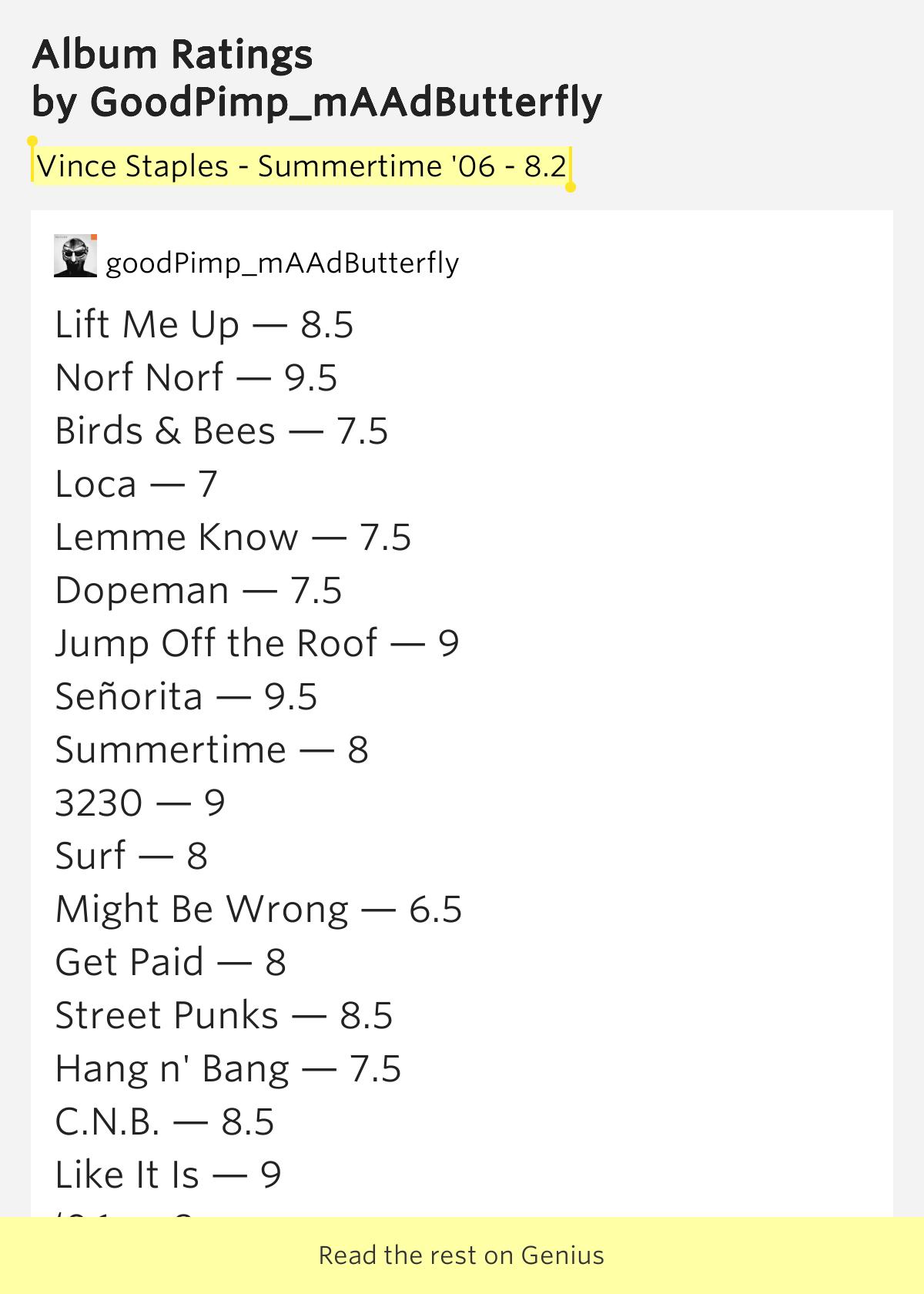 Vince Staples Summertime 06 8 2 Album Ratings Meaning
