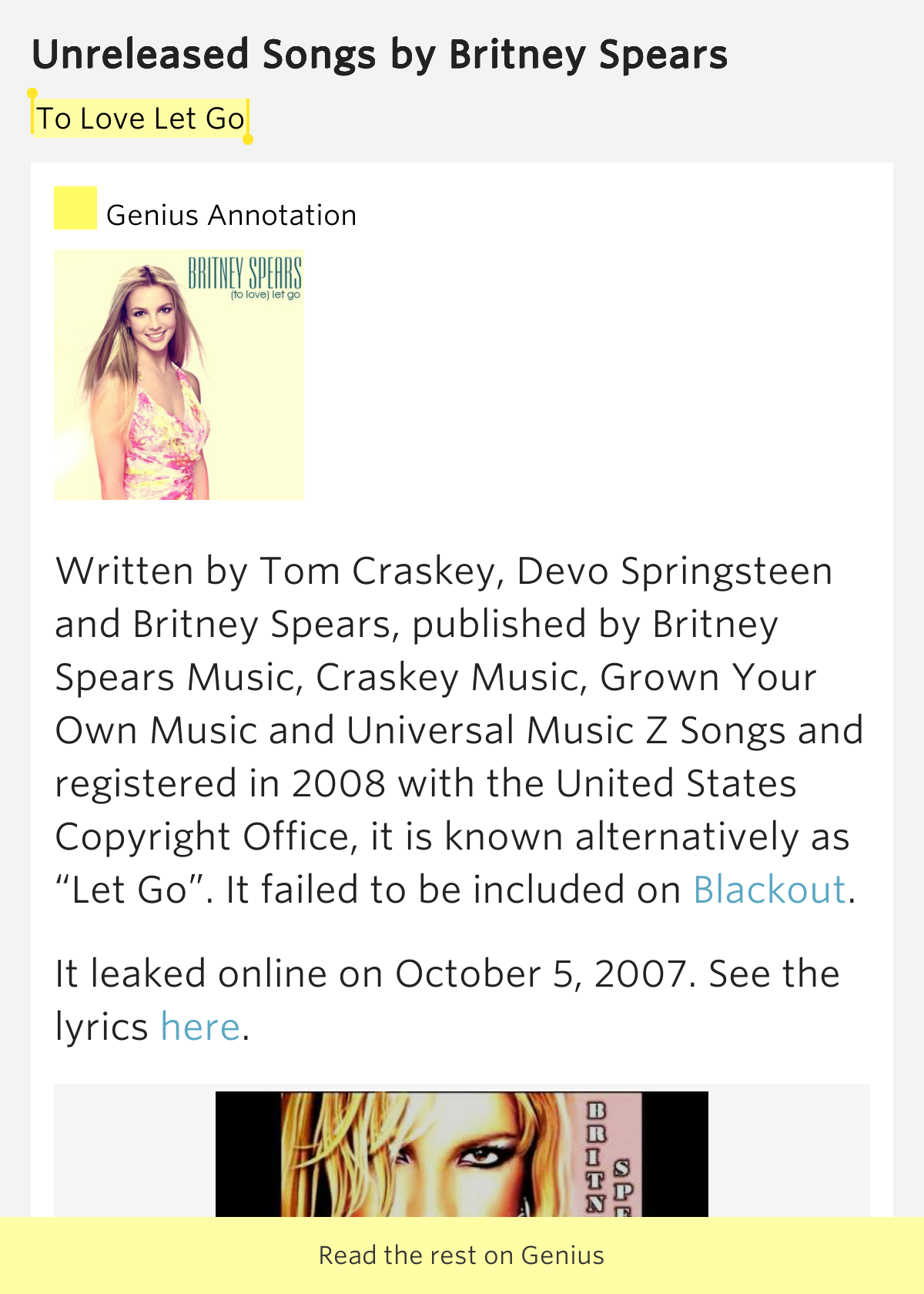 To Love Let Go – Unreleased Songs by Britney Spears