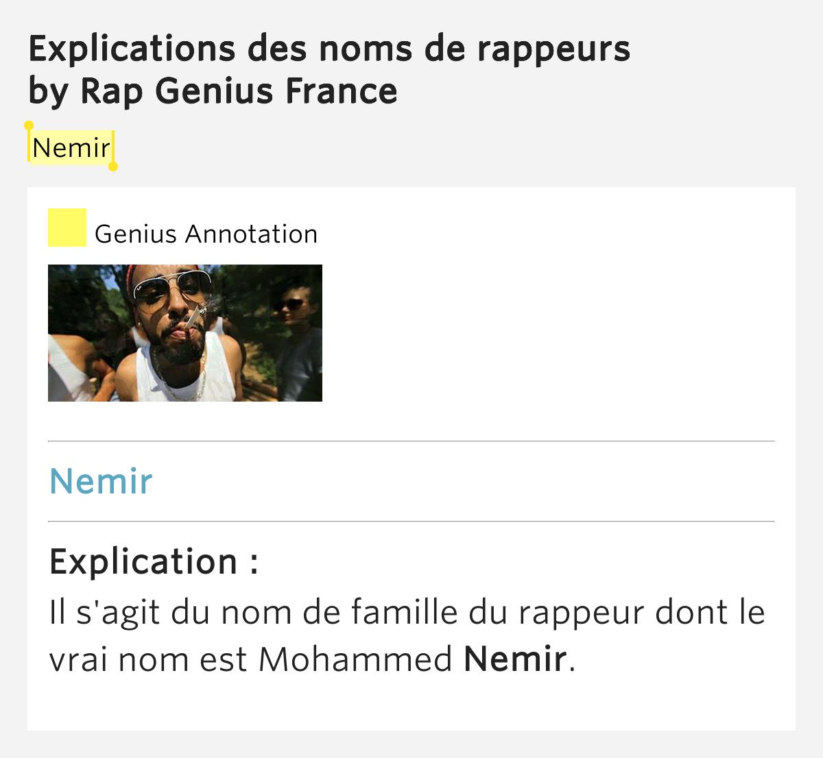 nemir explications des noms de rappeurs by rap genius france