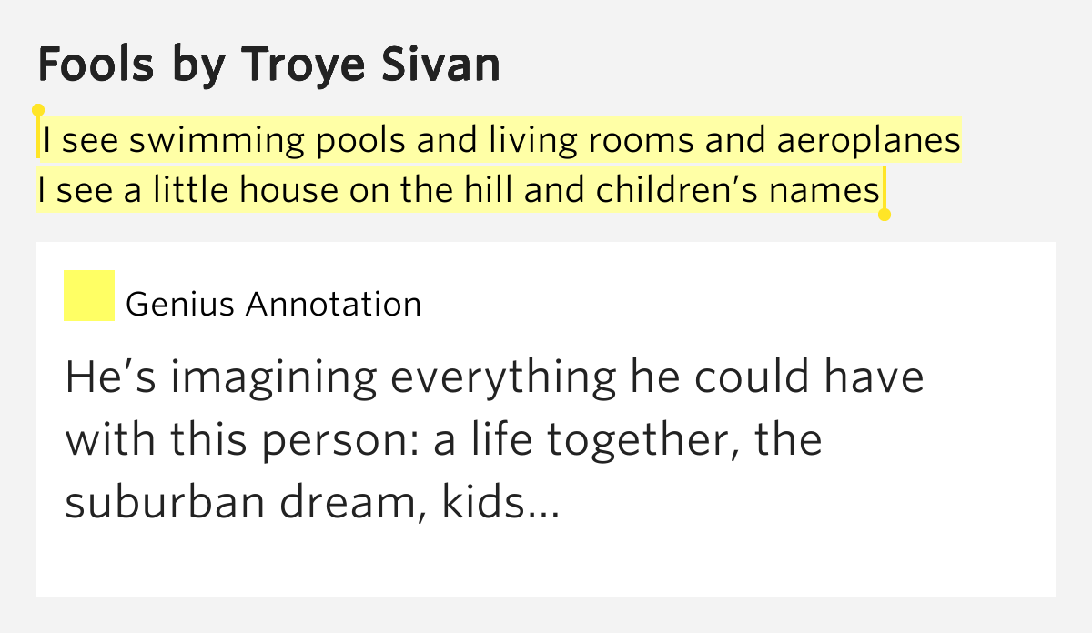 I See Swimming Pools And Living Rooms And Aeroplanes I See A Little House On The Hill And