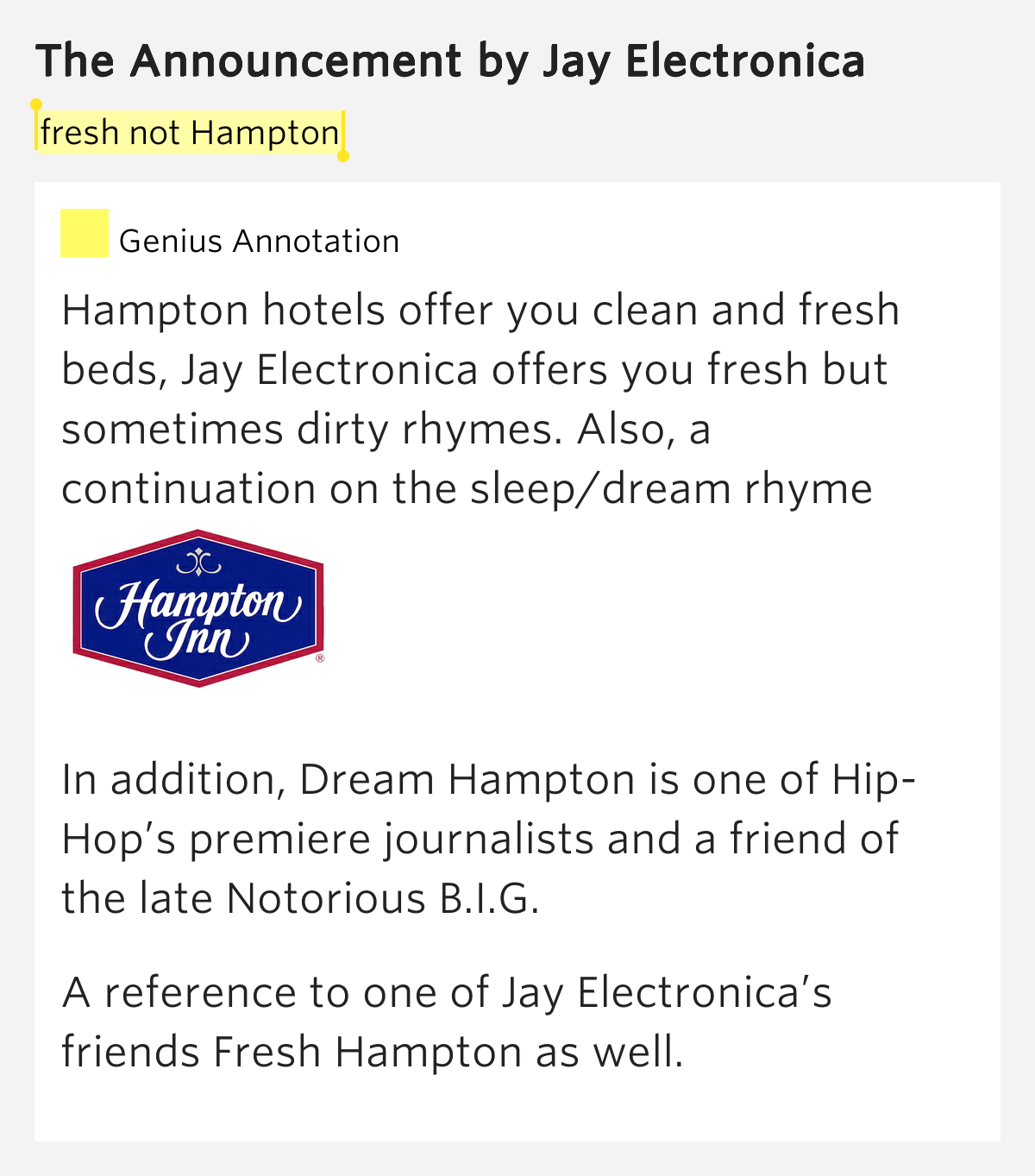 Fresh not hampton the announcement lyrics meaning for Meaning of frash