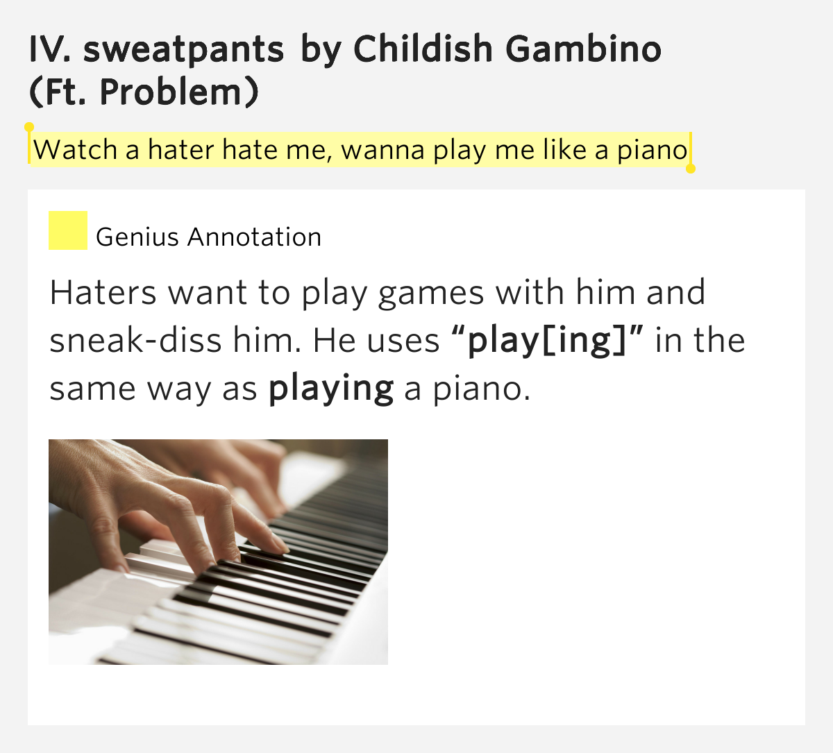 Lyrics to IV Sweatpants by Childish Gambino Watching haters wonder why Gambino got the game locked HalfThai thickie all she wanna do is Bangkok Got