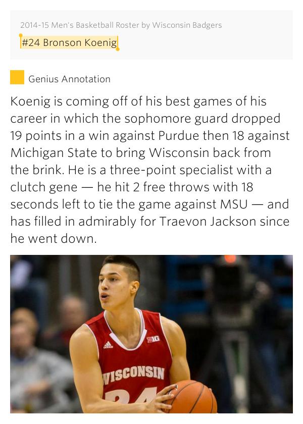 #24 Bronson Koenig – 2014-15 Men's Basketball Roster