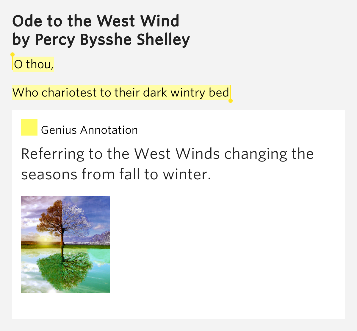 an analysis to the ode to the west wind by percy bysshe shelley In ode to the west wind, shelley invokes zephirus,  in ode on the west wind, the `melody' delivered to shelley is unconsciously  shelley, percy bysshe.