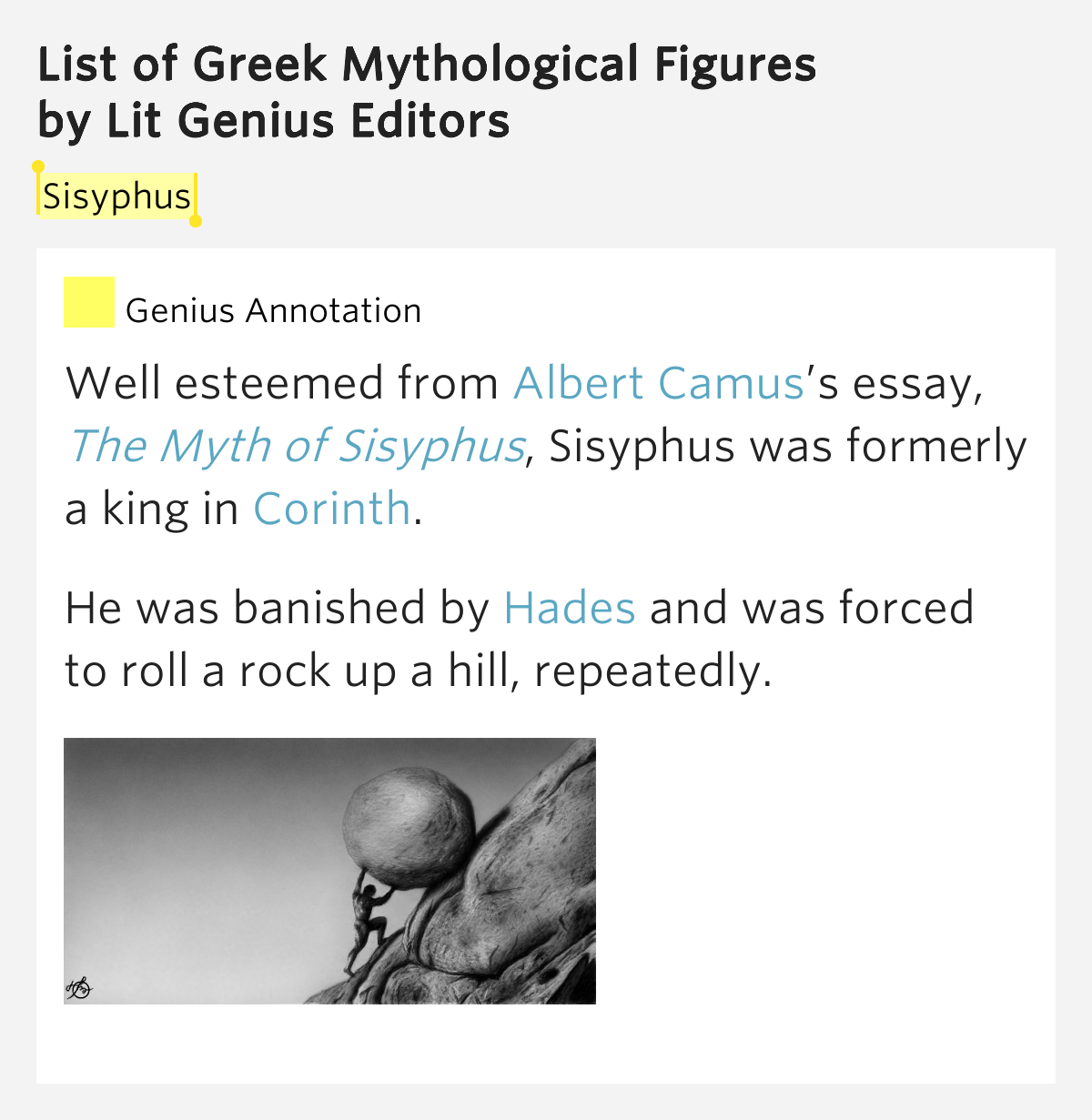 the myth of sisyphus essay summary This lesson looks at how an existentialist perspective would shed light on josh's situation we'll focus on the essay the myth of sisyphus by albert lesson summary.