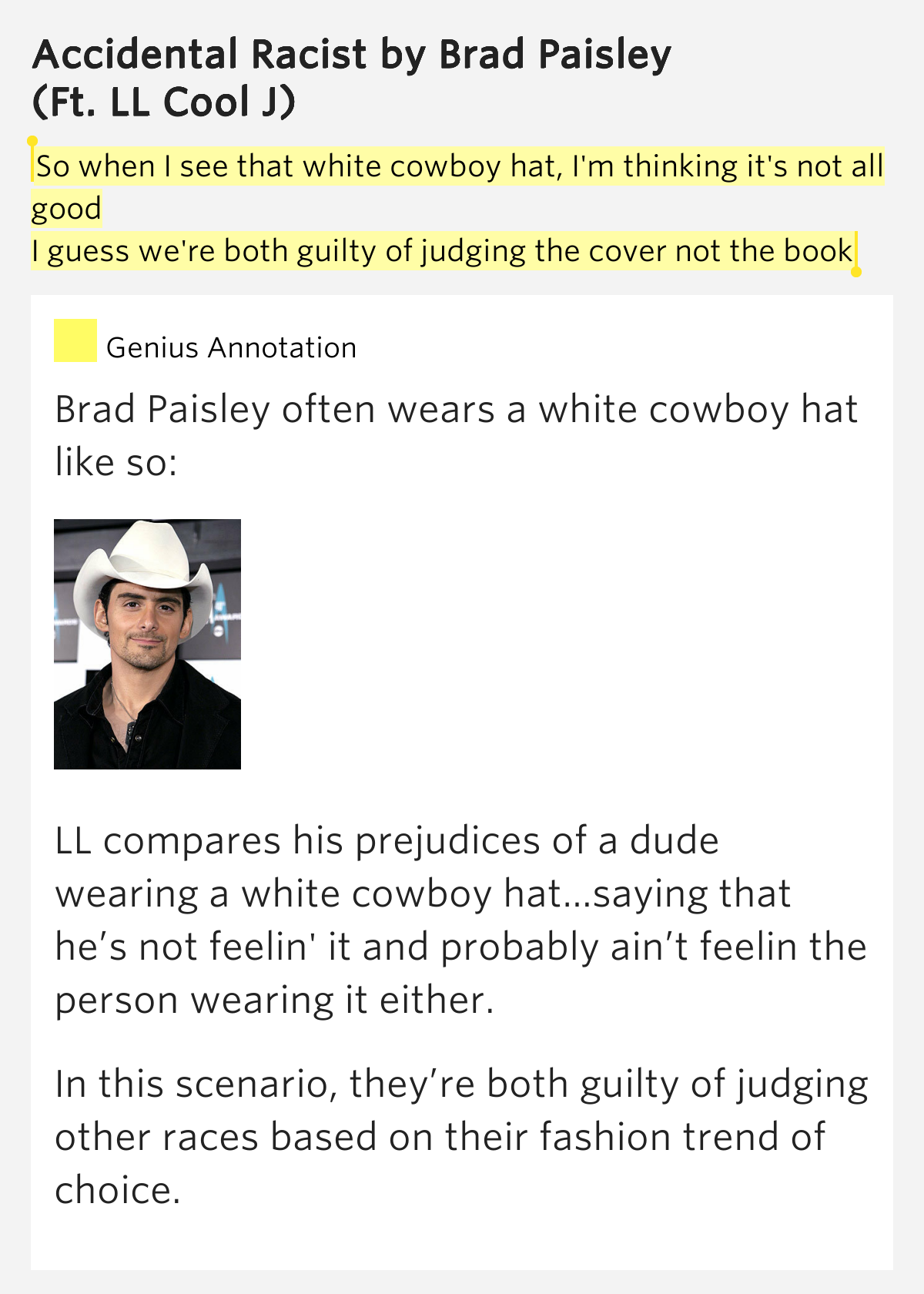 Accidental Racist lyrics by Brad Paisley, 22 meanings ...