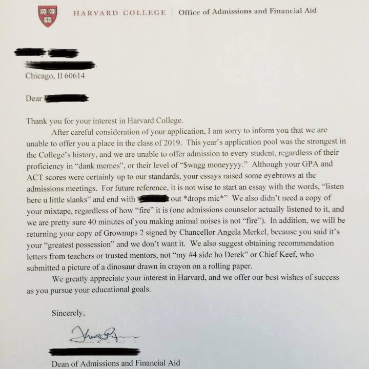 Funny application letter to university
