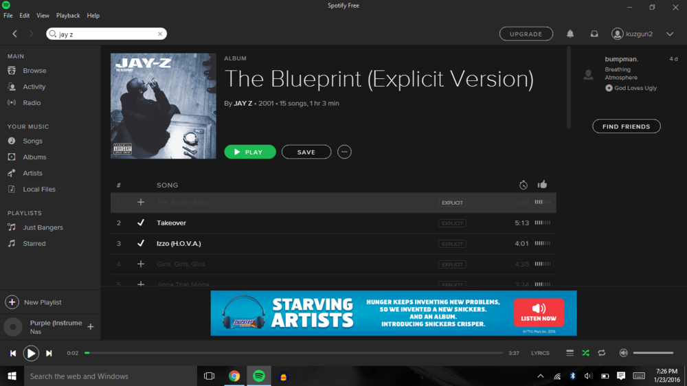 Did the blueprint get removed from spotify genius i have it here though malvernweather Images
