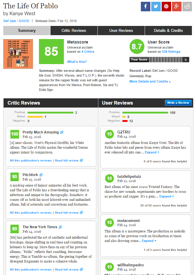 47e41fe660f9 Kanye's TLOP gets a 85/100 on Metacritic   Genius