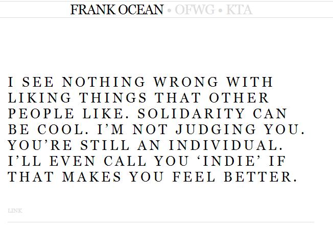 Frank Ocean Tumblr Post On Solidarity Lyrics Genius Lyrics