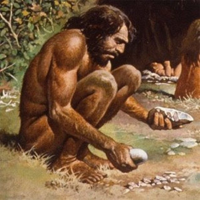 caveman making sick beats
