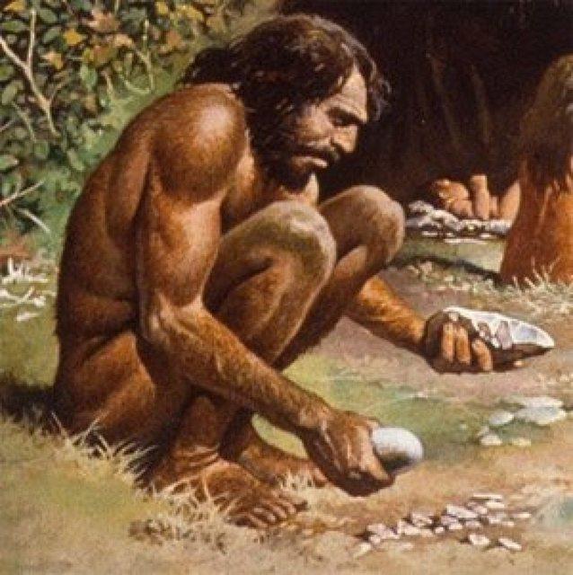 caveman making sick beats