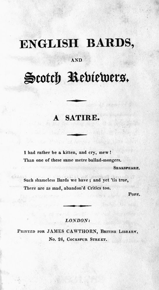 Lord Byron – English Bards and Scotch Reviewers   Genius