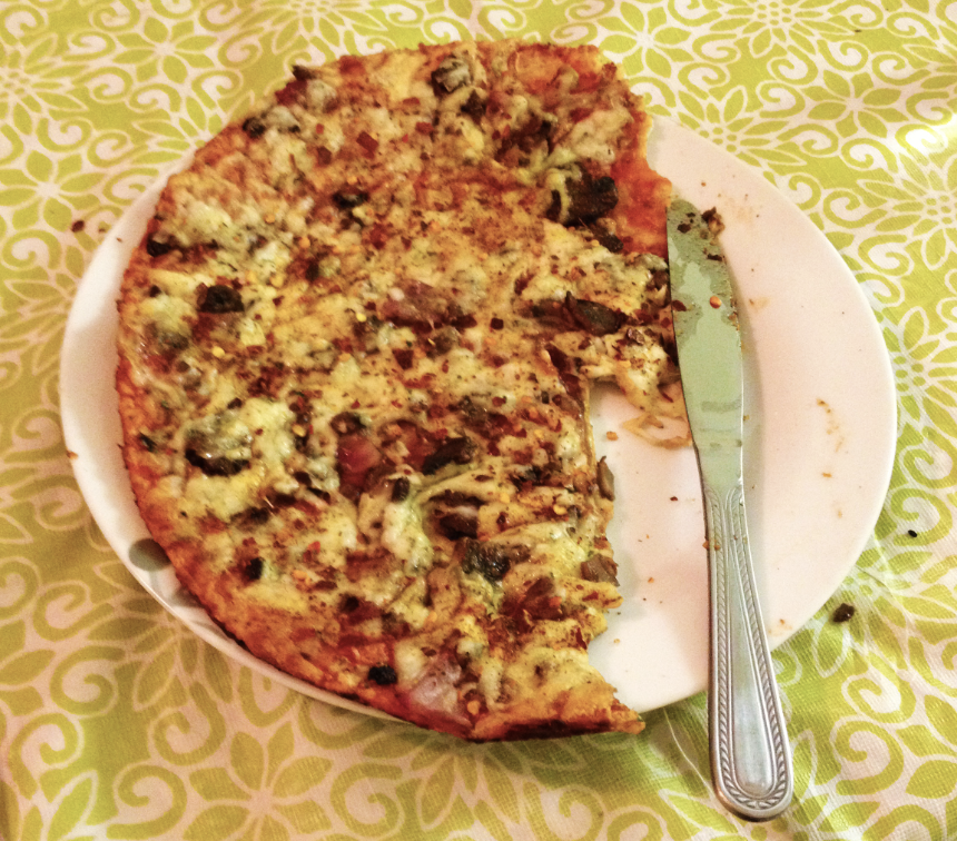 Ultra-Thin-Crust Pizza With Onions, Mushrooms, And Ricotta ...