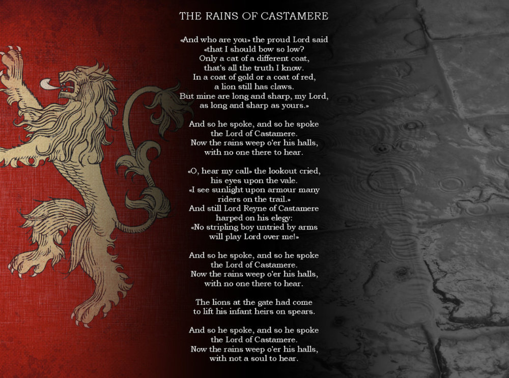 The Song Lent Itself To Le Of Traumatic Thrones Episode Rains Castamere In Which Red Wedding Occurred