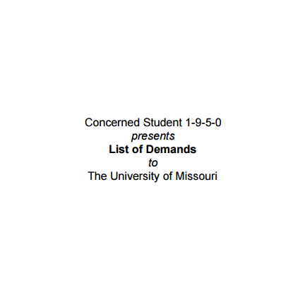 Cover art for List of Demands by Concerned Student 1950
