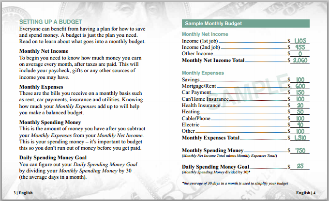 monthly income budget