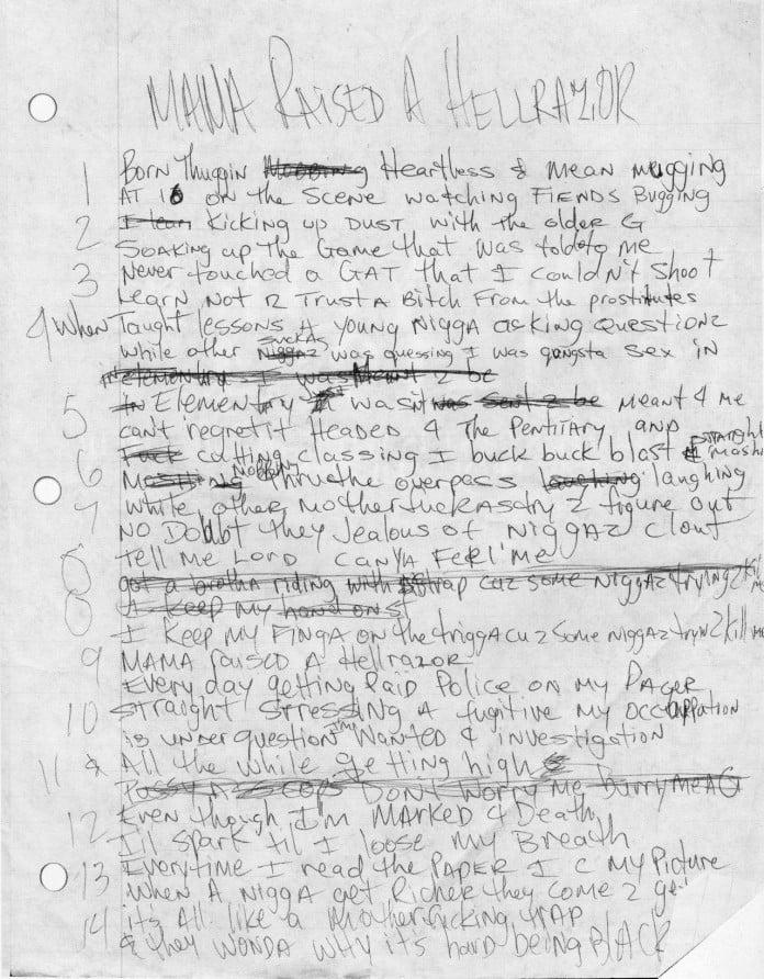2pac's Handwritten Lyrics For