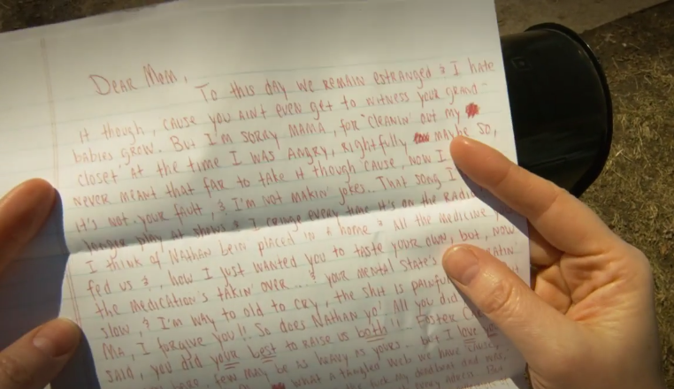 above is a paper containing some of the lyrics from the second verse from the music video