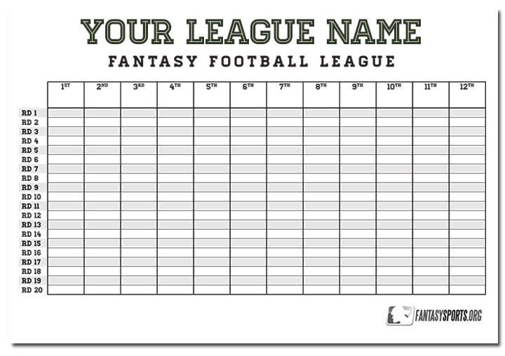 Eloquent image throughout fantasy football draft sheets printable