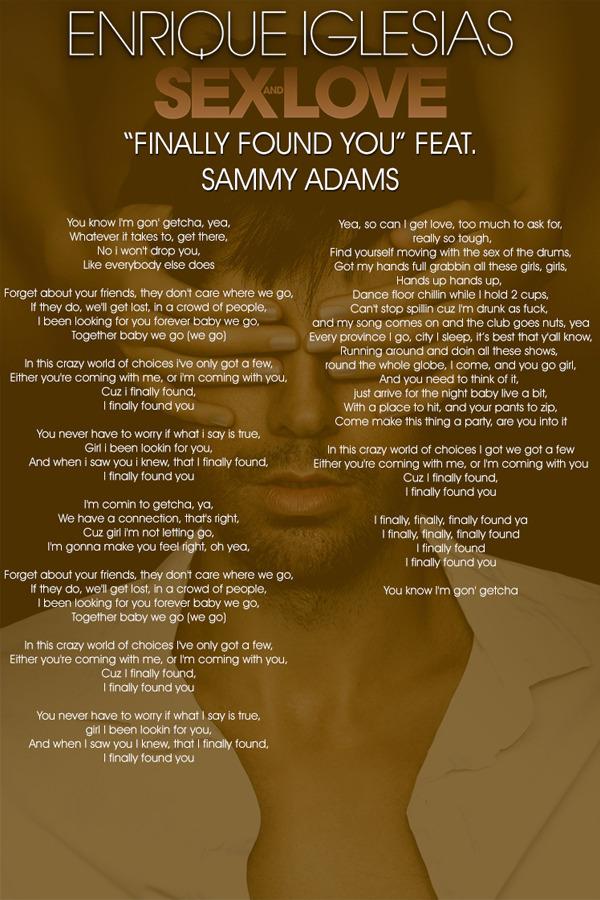 Enrique Iglesias Finally Found You Lyrics Genius Lyrics