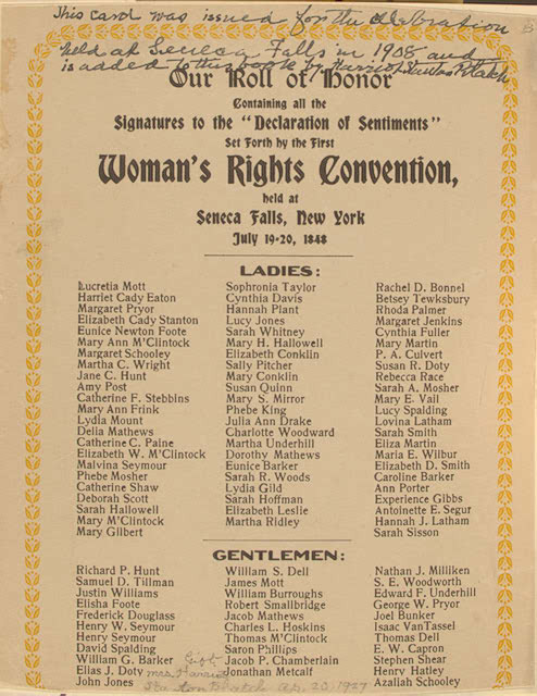 meet seneca falls singles The roots of the seneca falls women's rights convention,  the women obtained a place to meet in the town of seneca falls and on july 14 put a notice in the paper about the upcoming meeting, publicizing it mainly in the upstate new york area: woman's rights convention.