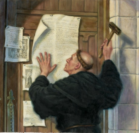 95 thesis by luther Did martin luther wield his hammer on the wittenberg church door on october 31, 1517 did he even post the ninety-five theses at all this collection of documents sheds light on the debate surrounding luther's actions and the timing of his writing and his request for a disputation on the indulgence issue.