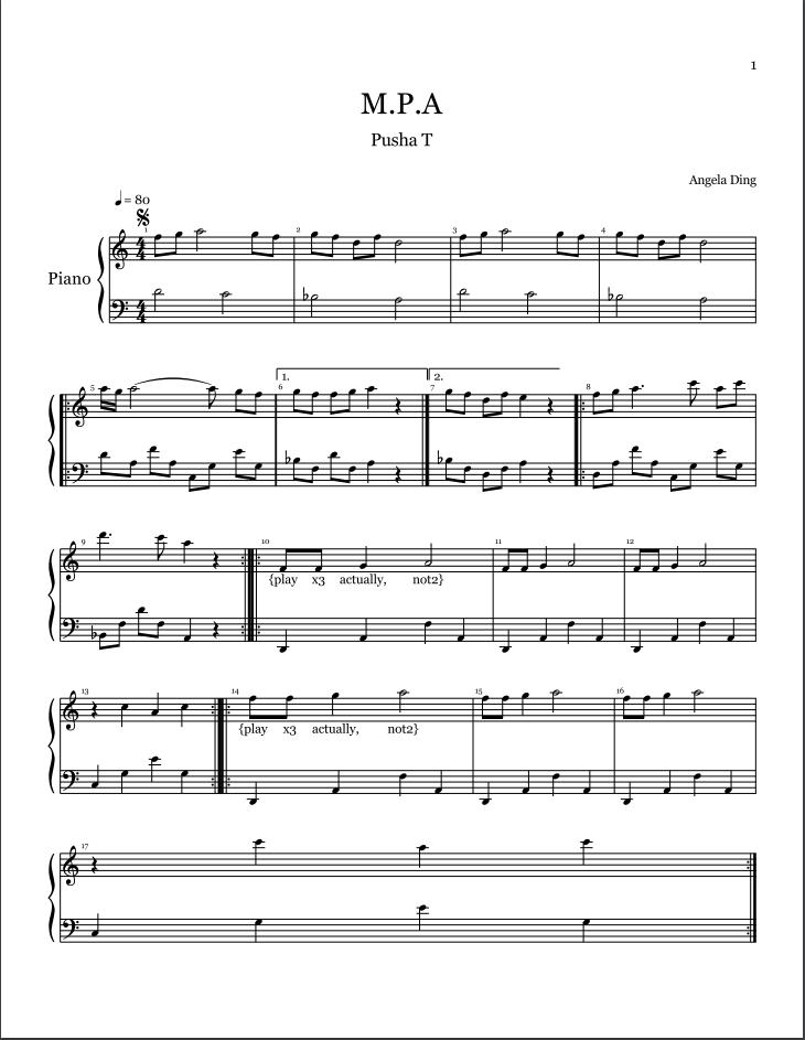 All Music Chords sheet music to print : AngelaKinik – M.P.A. by Pusha T -- Sheet Music | Genius