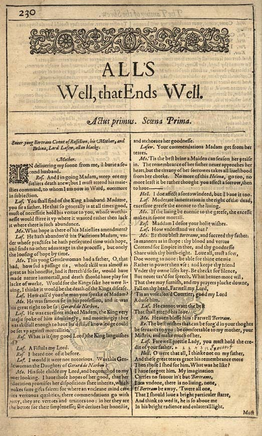 an analysis of scene i in the play alls well that ends well by william shakespeare [8447a2] - alls well that ends well by william shakespeare alls well that ends well is a play by william shakespearesome academics believe it to have been written between 1604 and 1605it was published in.