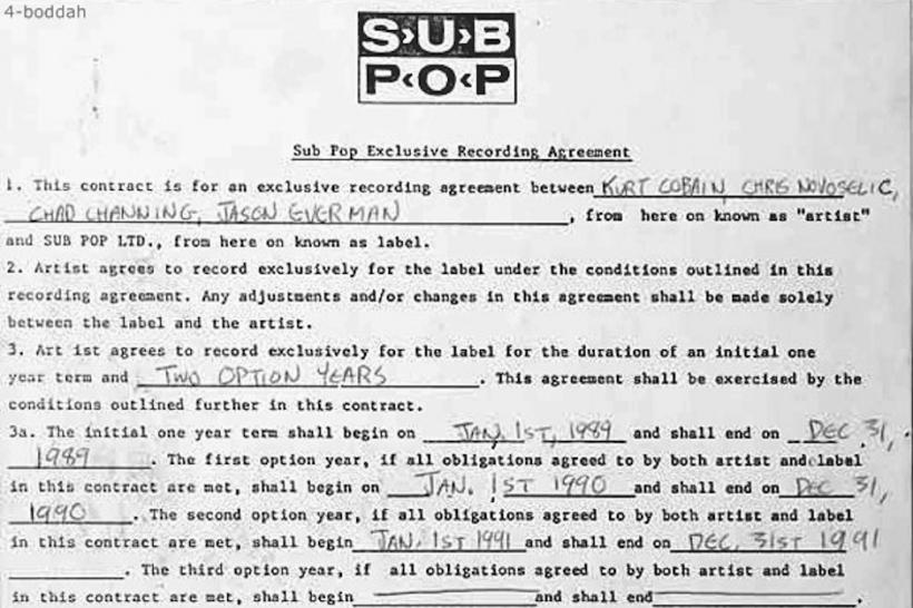 Nirvana – Original Recording Contract With Sub Pop Records | Genius