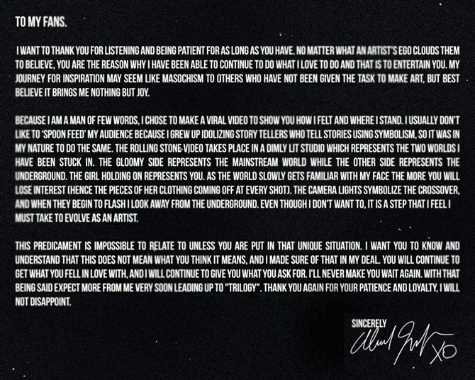 The Weeknd – Open Letter to Fans Lyrics