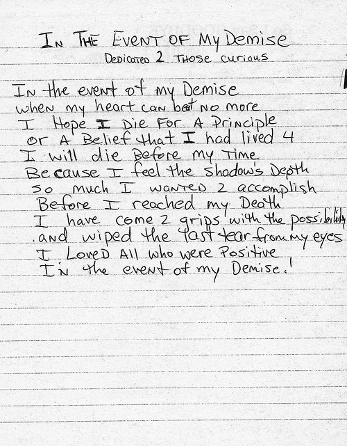 2pac In The Event Of My Demise Poem Genius