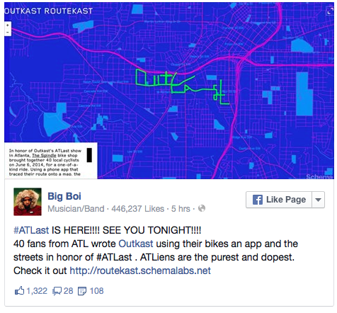 """Cyclists used GPS tracking to write """"OutKast"""" on a map of Atlanta"""