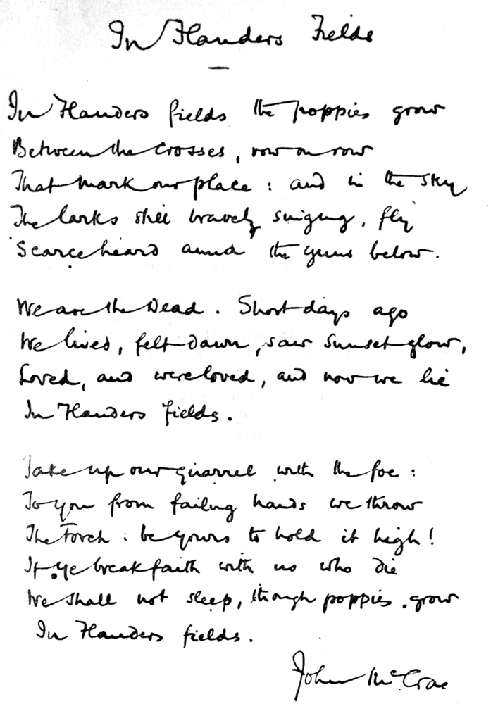 John Mccrae In Flanders Fields Genius