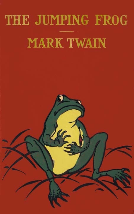 mark twains jumping frog essay Mark twain relates the boyhood experiences on the  the boys' ambition:  he wrote the short story the celebrated jumping frog of calaveras county.