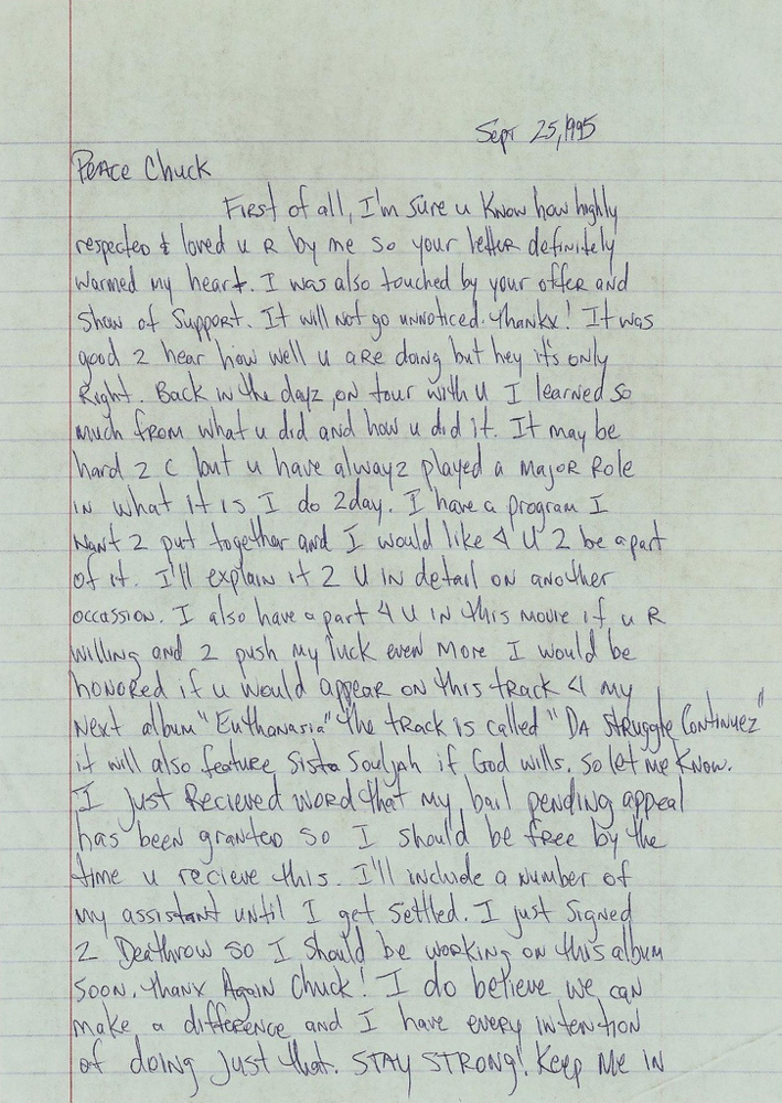 2Pac – Tupac s Letter to Chuck D